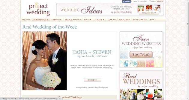 Featured on ProjectWedding.com :: TANIA + STEVEN