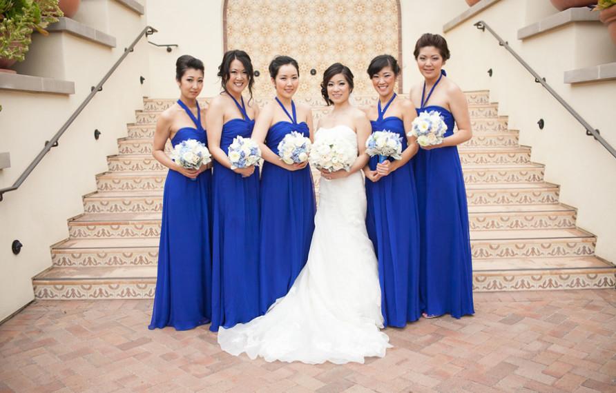Terranea Wedding, Henry Chen Photography, Blue Bridesmaids