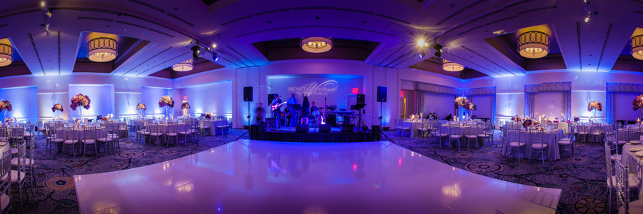Ritz Carlton Laguna Niguel Wedding By Lin And Jirsa 25 Reception Details Purple Ombre Lights White Dancefloor