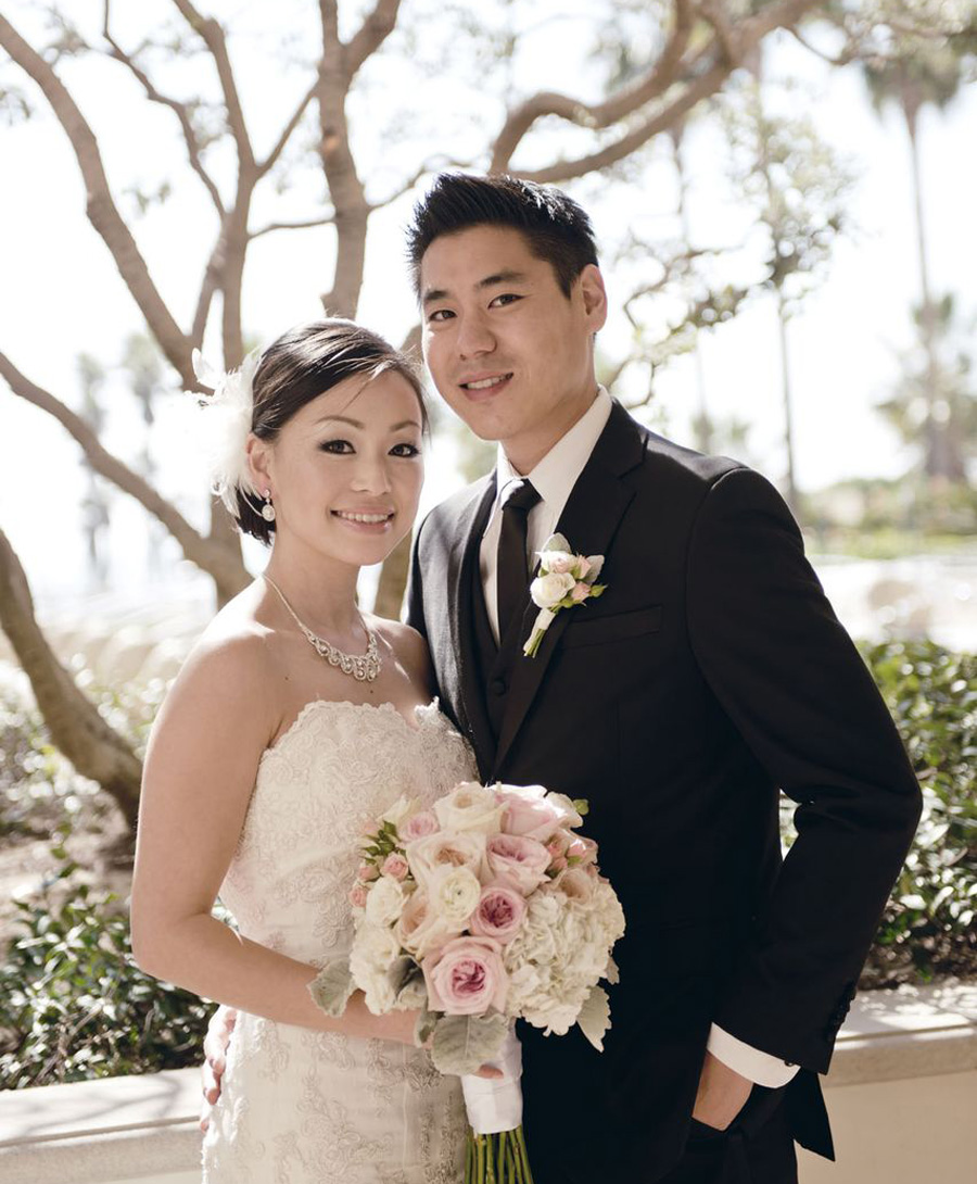 Hyatt Huntington Beach Wedding By John Park Bride And Groom Portrait Lace Dress