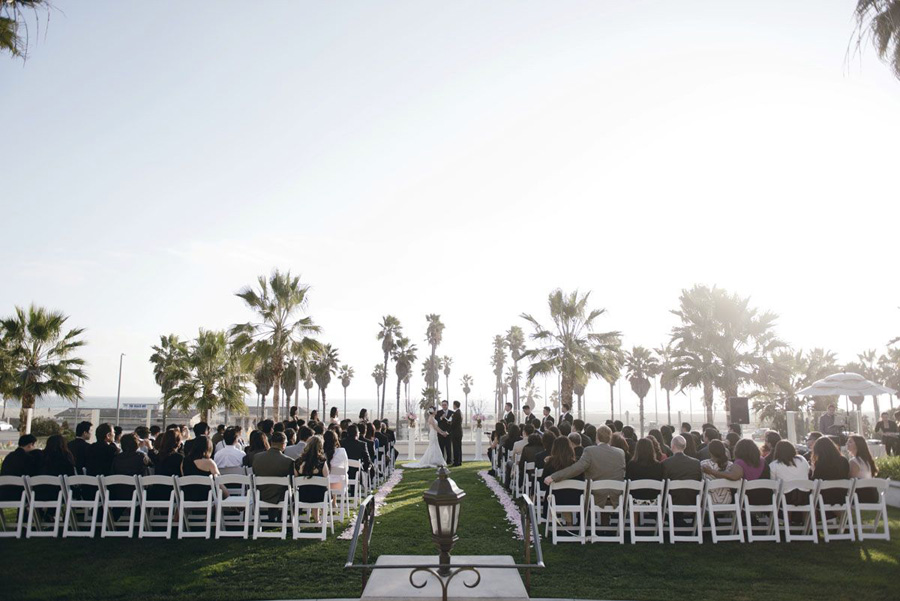 Hyatt Huntington Beach Wedding By John Park California Courtyard Ceremony Pink And White